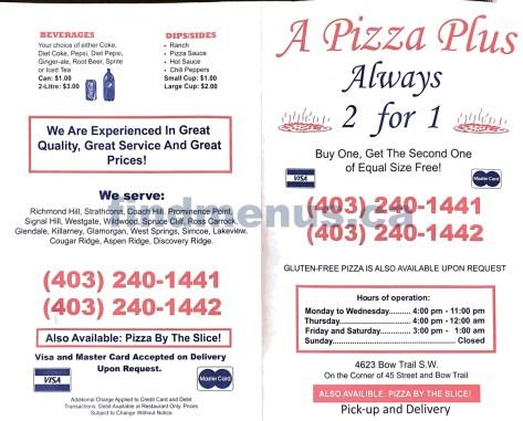 A Plus Pizza Menu (page 1)