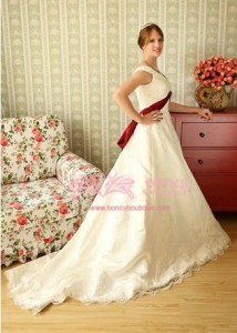 Satin/Lace Off-the-shoulder A-line with Bow/Sash Retro Wedding Dress