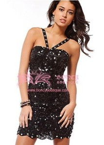 Sequined Lace A-line Strapless Party Dress