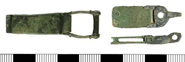 A strap clasp (WILT-C6FA5D) and a hinged book clasp (YORYM-2ACC26) showing plates without space for a pin.
