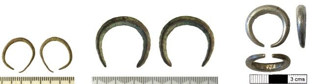 Viking-age penannular finger-rings with tapered terminals (SF-13670F,SF-50DB52 and NMS-E26C94)