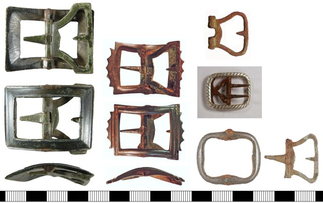 18th-century buckles. Left: LVPL-87BDEB, Centre: NLM-0AD8BB. Right, from top: PUBLIC-71621E, CORN-6F5AE6, and YORYM-98F33F (frame and detached plate).