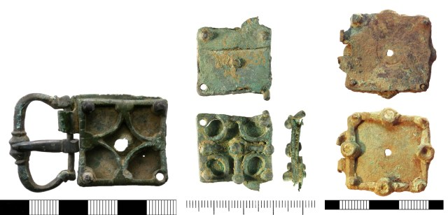 Buckles with square plates with cast openwork elements (NMS-F5DE61, WMID-072880 and SUR-47CA97)