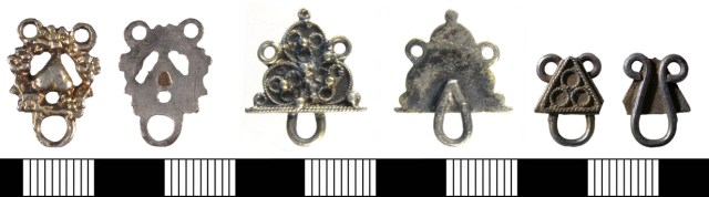 Three gilded silver post-medieval objects, which might be eyes for use with hooked tags. Left: cast in one piece (SUSS-941414). Centre: wire loop and applied plate (SWYOR-DBA47D). Right: wire loop and applied plate (NMS-57F66D).