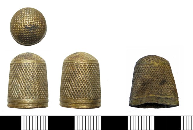 Two examples of one-piece machine-made thimbles of the type made in England by John Lofting. Left: PUBLIC-059C26. Right: LANCUM-038C8D. Both should probably be dated to c. 1650-1750 AD.