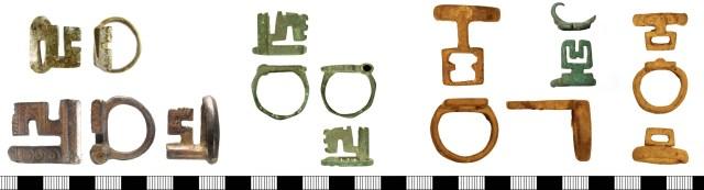 Roman ring-keys. Left, three keys of Guiraud type 5a (left above, WILT-C592D7; left below, LIN-CA7623; right, DOR-8FF913). Right, three keys of Guiraud type 5b (left, BM-B35729; centre, SUR-452144; right, BM-DE9D93).