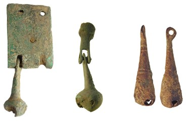 Bells of sheet copper alloy, probably from horse-harness