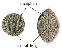Circular and pointed-oval seal matrices, showing the central design and the inscription (IOW-CFE1A5 and NMS-A97FD5).