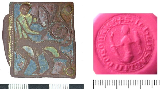 Centaur on a buckle plate (NMS-B8B005) and mermaid on a seal matrix (SWYOR-48F8B2)