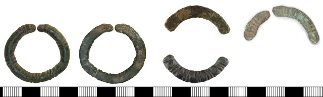 Annular brooches with D-shaped or oval cross-section and ribbed decoration. Left to right: DENO-6CBC25, YORYM-7B4EB1 and NMS-F72267.