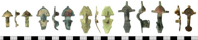 Radiate-headed brooches. Left to right: IOW-B3C471, KENT-7882DB, IOW-E9CC91, HAMP-30F0CC, NMS-C5EBB3.