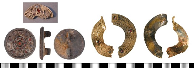 A complete plated disc brooch, and two fragments. Left, KENT4546; centre, KENT-E11753; right, WMID-C2E8C8.