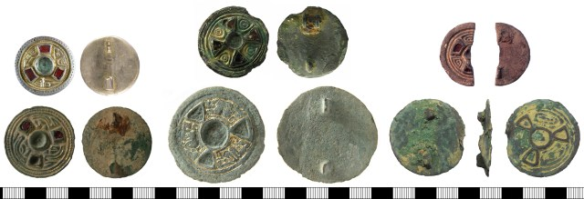 Keystone disc brooches. Left, KENT4837 (above) and WILT-6F2B84 (below). Centre, HAMP-9B6151 (above) and WILT-F561A1 (below). Right, LON-915B21 (above) and BERK-6DD561 (below).