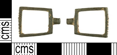 Medieval strap-slide of trapezoidal form with external rivet (YORYM-38A6A4)