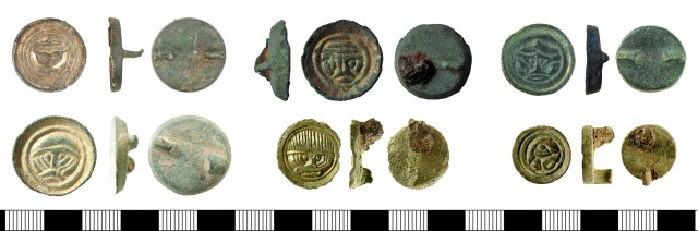 Button broocheButton brooches from the PAS database. Right: KENT-AC16E8 (above) and HAMP-F4CAD3 (below). Centre: BERK-3E22D3 (above) and IOW-BDF9A5 (below). Right: HAMP-006CE5 (above) and IOW-AABE51 (below). All show facing human masks except for IOW-AABE51, which shows a profile mask facing right.s from the PAS database (KENT-AC16E8-HAMP-F4CAD3-BERK-3E22D3-IOW-BDF9A5-HAMP-006CE5-IOW-AABE51)