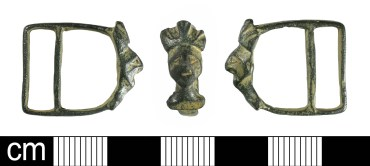 Medieval strap-slide of double-looped form depicting crowned king (BH-948960)