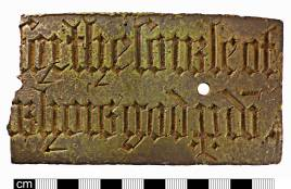 Plate from a medieval monument with black-letter engraved inscription (NMS-FDB4BF)
