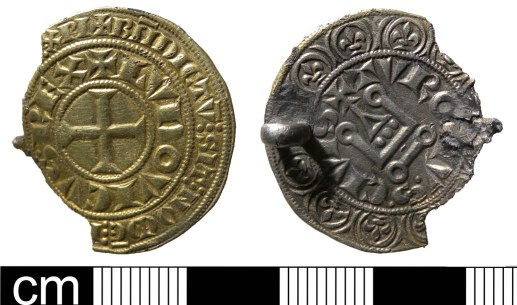 Medieval coin-brooch formed of a gros tournois of Louis IX issued between 1265 and 1270 (NMS-FEC503)