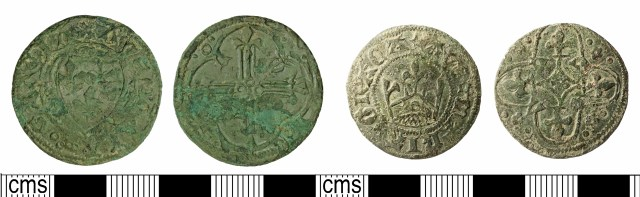 Derivative designs on (late) Tournai jettons: France Modern type (left, DOR-65F098); Crown type (right, IOW-76A9BB). Copyrights: Somerset County Council; The Portable Antiquities Scheme; CC-BY licence)