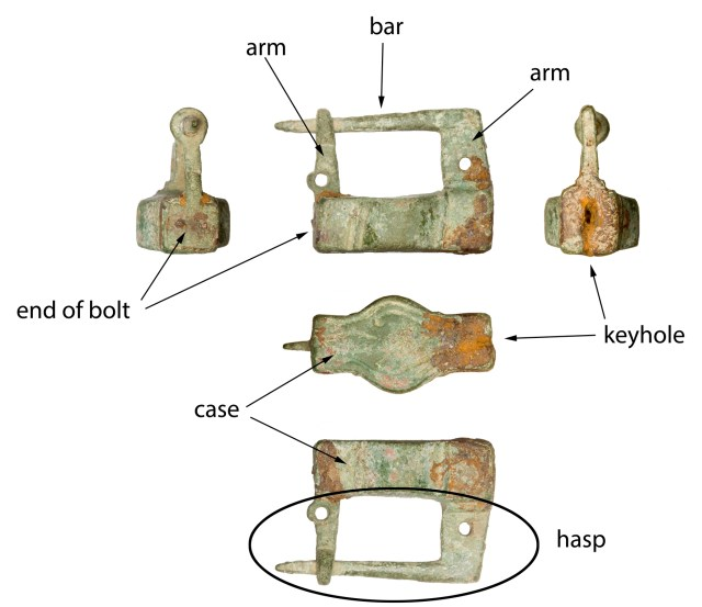 Names for the various parts of a padlock (SOM-6AE232).