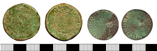 Post-medieval Nuremberg jettons of the early-mid 16th century: Lion of St Mark type (left, DOR-0DC577); Rose/orb type (right, SUR-4A8F60). Copyrights: Somerset County Council; Surrey County Council; CC-BY licence)