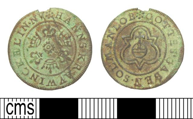 Post-medieval Nuremberg jetton: 'Gottes gaben' legend on rose/orb type of Hans Krauwinckel II (HAMP-9351E8). Copyright: Hampshire Cultural Trust; CC-BY licence)