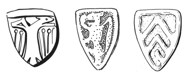 Shields of arms on medieval steelyard weights of Class A: double-headed eagle (left); lion rampant (centre); three chevrons (de Clares, right). Copyright: various; CC-BY licence)