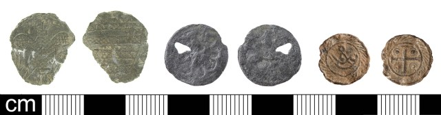 Medieval tokens in lead or lead alloy: 'Pictorial' type (left, LON-8E1413); 'Geometric' type (centre, LON-F15A334); 'Cross and Pellets' type (right, PUBLIC-9E0AD7). Copyrights: Museum of London; The Portable Antiquities Scheme; CC-BY licence)