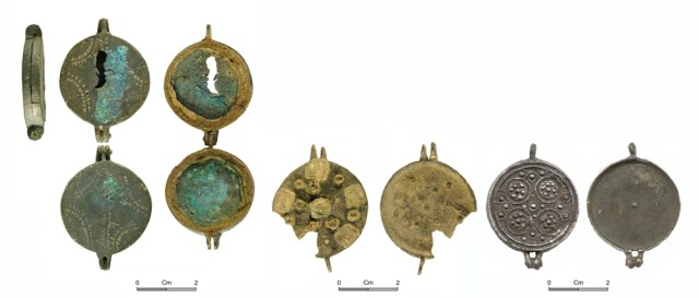 Medieval mirror cases: copper alloy with punched decoration (Lewis Type A, NMGW-F4ABC8, left); copper alloy with applied decoration (Lewis Type B, LIN-269165, centre); lead alloy with moulded decoration (NARC-CC3D05, right). Copyright: All rights reserved; The Portable Antiquities Scheme; Northamptonshire County Council; CC-BY licence)