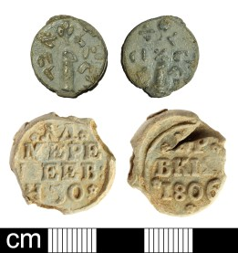 Seals: post-medieval to modern kosher seal (top, BH-D374D4); post-medieval Russian flax seal (bottom, SOM-20E370). Copyright: The Portable Antiquities Scheme; Somerset County Council; CC-BY licence)