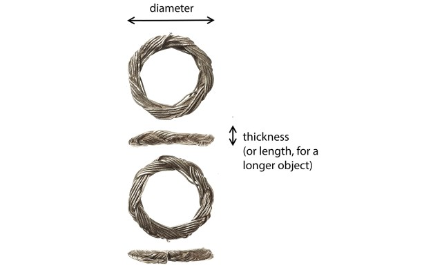 How to measure the dimensions of a plaited wire ring (IOW-05025E)
