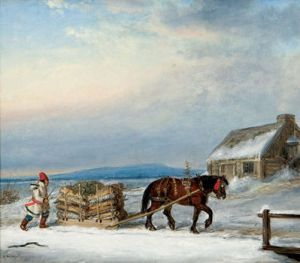 """""""Figure, horse and sleigh in snow"""" by Cornelius Krieghoff."""