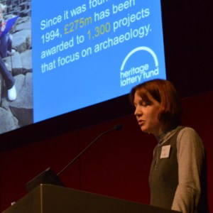 Sara (HLF) speaking at the PASt Explorers conference
