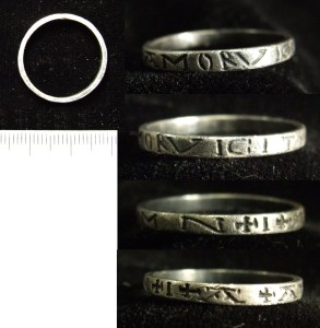 Medieval silver finger ring with Latin inscription