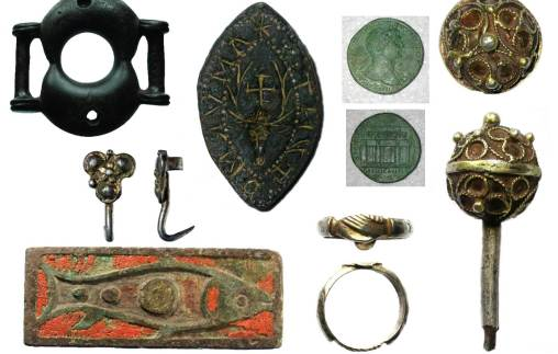 Images of finds found in Berkshire. Top row from left to right: an Iron Age buckle, a seal matrix with a stags head on it, front and back views of a Roman coin, a dress pin with openwork decoration. Bottom row from left to right: a silver dress hook, a brooch depicting a fish, a finger ring with clasped hands decoration.