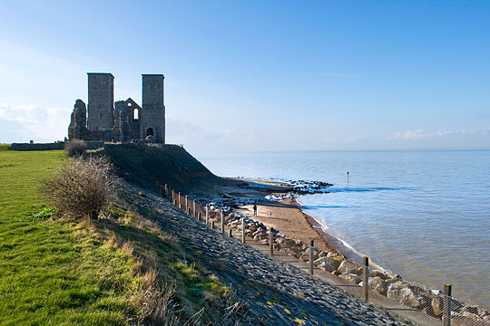 The evocative site of the abbey of Reculver, founded in 669. The towers were built in the 12th century and are still used as a seamark.