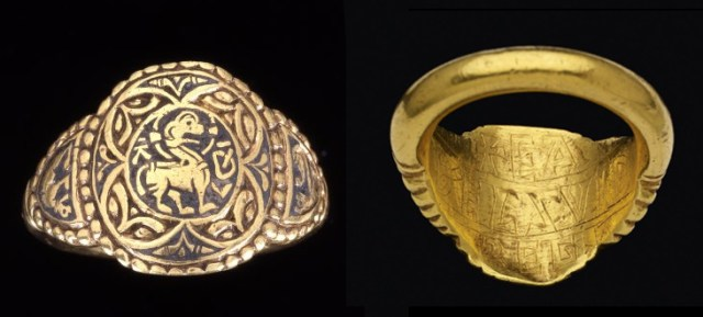 The 'Athelswith' finger-ring, found at Abercorn in West Yorkshire in 1870 and now in the British Museum (AF.458).