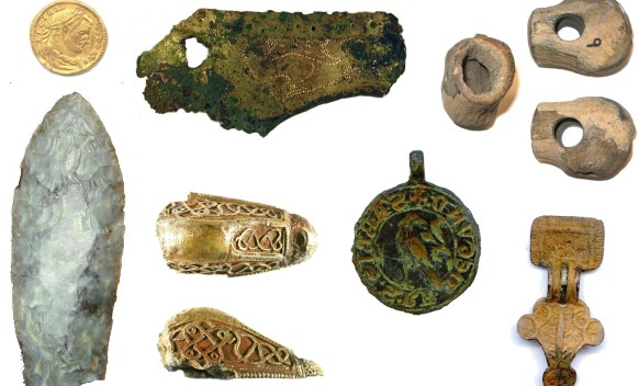 Image of seven archaeological finds from Northamptonshire.