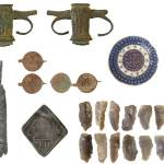 Image of seven archaeological finds that were found in Northumberland.