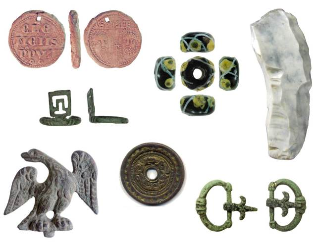 Image of seven archaeological finds from Nottinghamshire.
