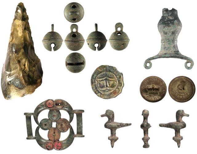 Image of seven archaeological finds found in Sussex.