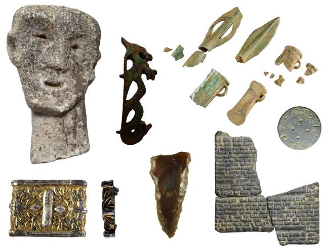 Image of seven archaeological objects found in Wales.
