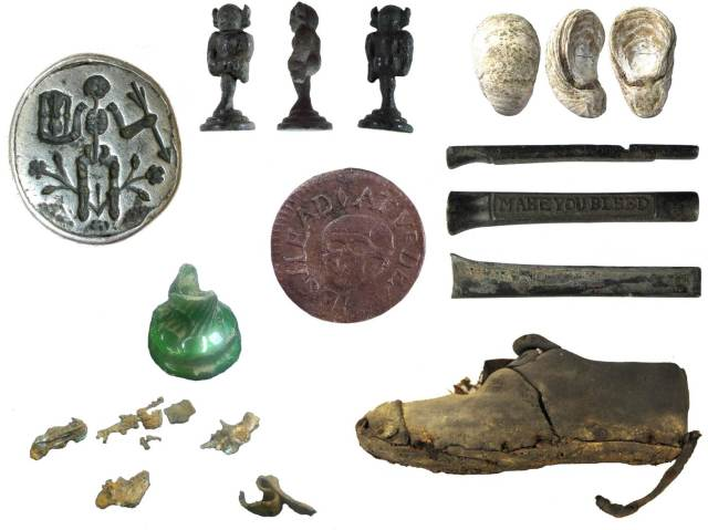 Image of seven archaeological finds related to Halloween.