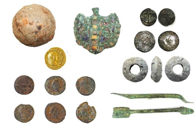 Image of seven archaeological finds from the Tyne & Wear area.