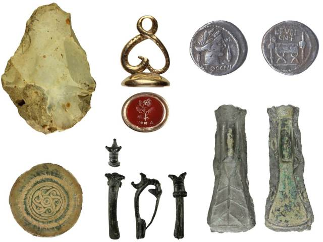 Image of seven archaeological finds from Wiltshire.