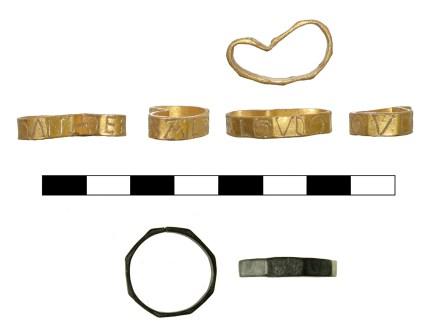 Gold medieval Tebal finger-ring (ESS-53A9B2, above). Silver medieval Tebal finger-ring (SF-B2AA47, below).