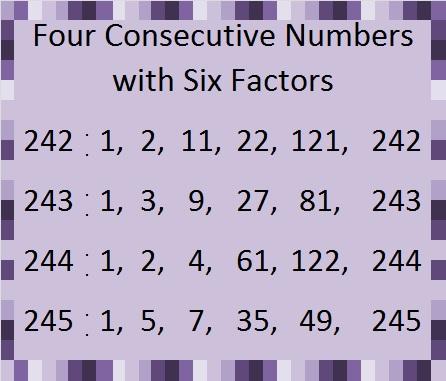 4 numbers; 6 factors