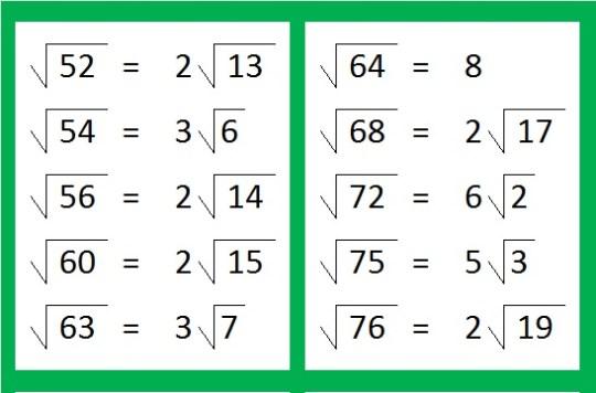 52-76 sqrt