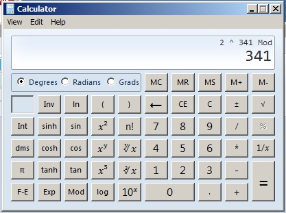 mod 341 calculator