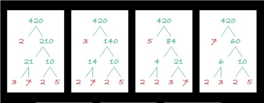 420 prime number factor trees